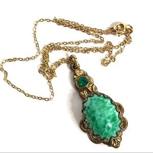 Vintage Green Glass Pendant Necklace Gold Chain